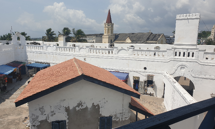View from Elmina Castle, A slave dungeon and fort in Cape Coast Ghana.